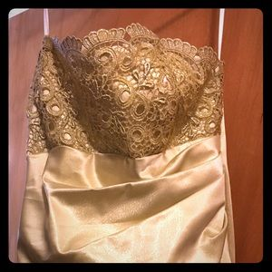 Gold Strapless Long Dres size 14